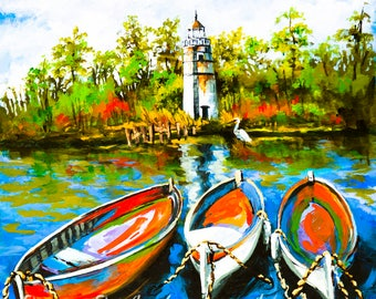 Lighthouse and Wooden Boats, Madisonville, Louisiana, Impressionism Marine Art, Louisiana Marine Gift by New Orleans Artist- 'Les Bateaux'