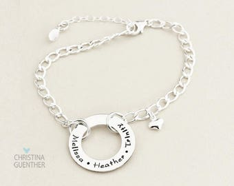 Personalized Washer Style Bracelet, Names, Children, Link Bracelet, Custom Personalize Name Jewelry, Expandable, Christina Guenther