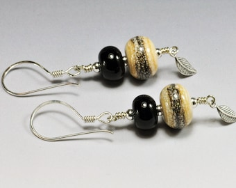 Lampwork Bead Earrings Ivory and Black Beads with Silvered Ivory Stringer Sterling Silver Jewelry Southwest SRA by HallockGlass