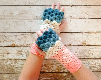 Dragon Scale Fingerless Winter Gloves, Peach Off White and Blue Gloves