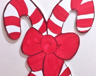 Candy Canes Bow Christmas Sign Or Wreath
