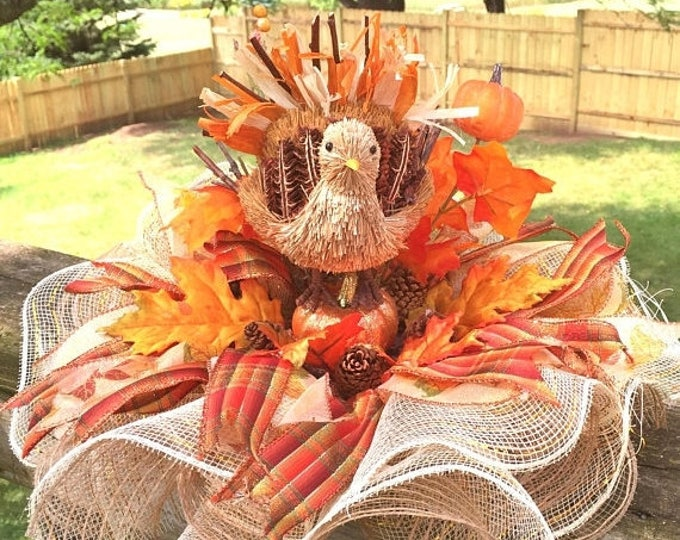 SALE- Turkey, Pumpkins, Leaves - Fall Thanksgiving Centerpiece