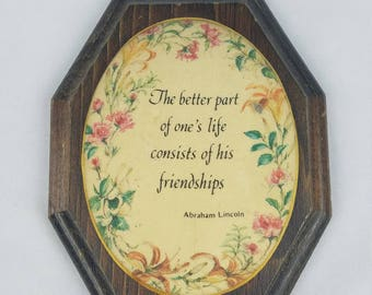 Vintage beaded domed wooden wall art hanging decor Abraham Lincoln quote