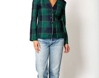 40% SUMMER SALE The Vintage Green and Blue Plaid Preppy Blazer Jacket