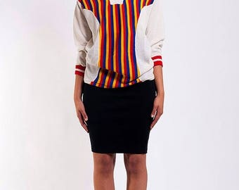 40% SUMMER SALE The Vintage VNeck Rainbow Striped Carnival Sweater