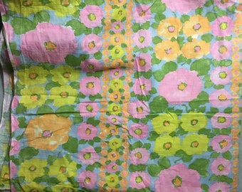 Twee vintage 1960s abstract pastel floral cotton print fabric one yard by 36 inches wide