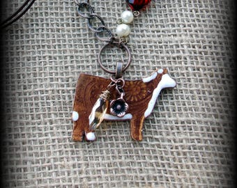 "Hereford Show Heifer Kiln Fired Pottery Pendant, Cattle Jewelry, Livestock Bead/Chain  Necklace, Approx 28"" (end to end)"