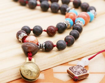 Grounding and harmony (unisex) necklace - breciated jasper, quartzite, howlite, carnelian and bell