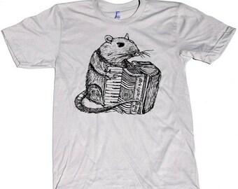 SUMMER SALE Mens ACCORDION playing Rat T Shirt X S S M L Xl and X X L (Silver)