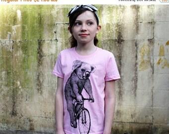 SUMMER SALE Koala on a Bicycle -  Kids T Shirt, Children Tee, Tri Blend Tee, Handmade graphic tee, sizes 2-12