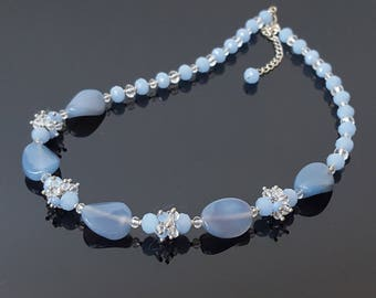 Light Blue Necklace Blue Lace Agate Necklace Clothing Gift for Women Gift for Mother Birthday Beauty Gift Wife Statement Gemstone Necklace