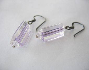 Handblown Glass Earrings, Purple, Clear, Striped, 1980s, Glass Canes, Drop Earrings, Artisan Made