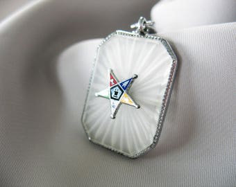 Camphor Glass Pendant, Eastern Star, 1930's, Enamel Star, Rhodium Plated, Carved, Frosted Glass, Silver tone, Filigree Bail