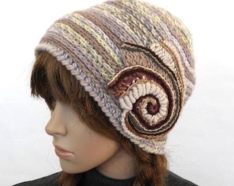 Crochet Beanie, Beige Hat, Beige women's winter hat, Beige beanie with Crochet Spiral Motif