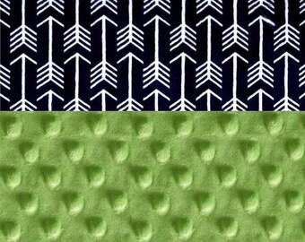 SALE Minky Blanket Boy, Navy Arrow & Lime Green Personalized Baby Blanket // Arrow Baby Blanket // Adventure Nursery Theme // Name Baby Blan