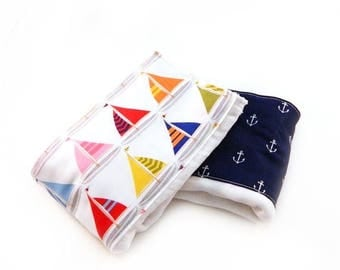 SALE Sailboats Anchors Burp Cloths- Blue Red  Yellow - set of 2 Boys / Baby Shower Gift