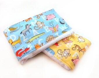 SALE Animal Burp Cloth / Baby Burp Cloth- Alphabet Animals Blue Yellow - set of 2 // Cotton Burp Cloth // Diaper Burp Cloth // Baby Shower G