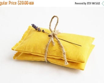 SALE Mustard Yellow Lavender Bags - Scented Drawer Sachets - Bridesmaid Gifts - Fall Wedding Favors