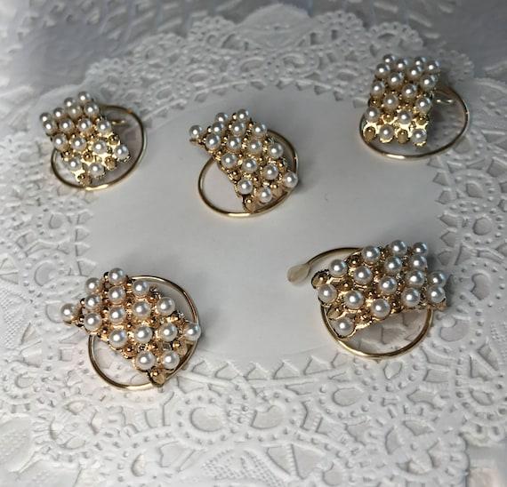 Wedding Pearls Hair Jewelry-Ballroom Dancer-Bridesmaid-Bride Hair Swirls-Hair Spins-Gold Tone Spirals Coils Hair Twists