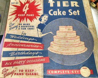 Vintage 50's, Cake Pans, Wedding Tiers, Retro Kitchen Decor