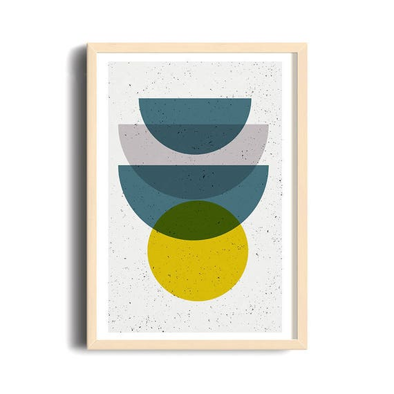 SPECIAL ORDER Martine // mid century Madness  //24x36, abstract art, minimalist, scandinavian style, yellow, bleu, half cercles, vintage