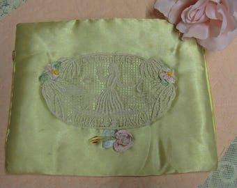 Vintage Handkerchief Holder, Satin Hankie Holder, World War ll Souvenir