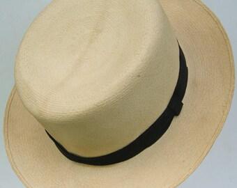 """21 1/2"""" - Vintage 1930's Poulton's Men's Summer Handwoven Panama Hat"""