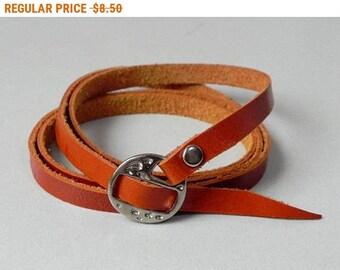 Multi Wrap bracelet Orange Leather Cuff Leather Bracelet