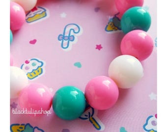 Small Pastel Jewelry Bracelet Small Gumballs Chunky Bracelet Kawaii Jewelry Pastel Beaded Bracelet Fairy Kei Sweet Lolita