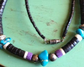 Vintage Puka Bead Shell and Turquoise Necklace Choker