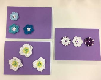Crocheted Flower Motif Greeting Card Set