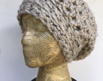Colorful, Slouchy Beanie, Crocheted Hat, in Oatmeal, Cream, Wool blend