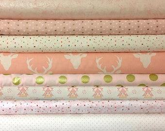 Baby, Girl, Custom, Bundle, Pink, Gold, Cream, White, Deer, Buck, Birds,Woodland, Fabrics, Modern, Rustic, You Choose the Cut, 8 fabrics