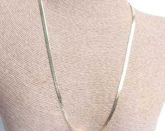Gold Tone Herringbone Necklace Chain 20 Inches Long Vintage