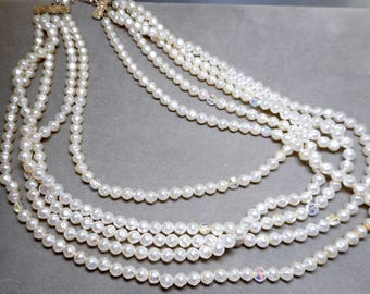 5 Strand Faux Pearl Necklace