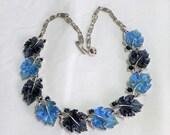 Sale 15% Beautiful NecklaceLeaves Blue Silver Rhinestones Light Dark  Thermoset 1950's