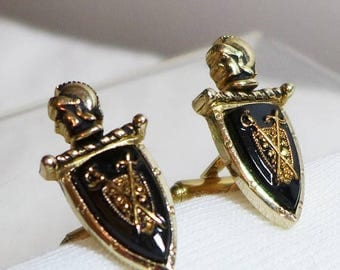 Sale 15% Vintage Cuff Links Cufflinks Knight Shield Stone Gold Black Swords Royal