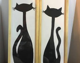 mid century cat paintings