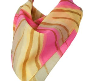 1970s Pink and Golden Yellow Mod Asymetrical Starburst Sheer Polyester Vintage Square Scarf