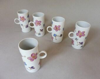 Pink, Purple and Blue Flower  Mugs