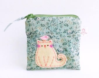 coin purse, cat purse, small change purse, fabric pouch, cute pouch, zipper purse, gift for sister, green floral, cat lovers gift