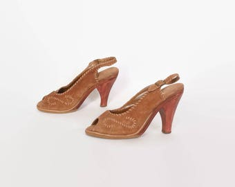 Vintage 80s Suede SANDALS / 1980s Stitched Golden Brown Leather & Wood Heels 7