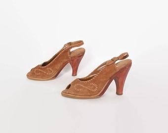Vintage 80s Suede SANDALS / 1980s Stitched Golden Brown Leather & Wood Heels 7