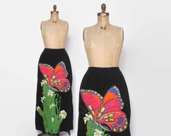 Vintage 60s Silk Skirt / 1960s Thai Silk Metallic Butterfly Applique Maxi Skirt