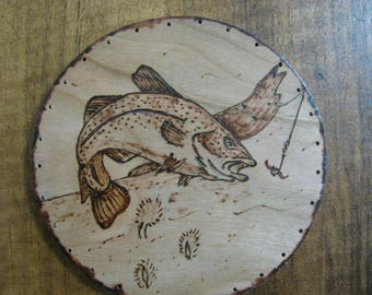 Wood Burnt Image of a Fish Basket Bottom or Other Craft