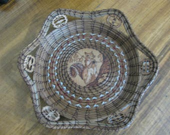 Wood Burnt Image of a Squirrel on a Limb Pine Needle Basket