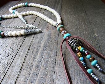 Southwestern Style Turquoise and White Beaded Necklace - Native Style- Boho - Gypsy Style