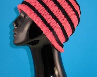 40% OFF SALE Digital file Pdf Download knitting pattern - Stripe roll Brim Beanie pdf download knitting pattern