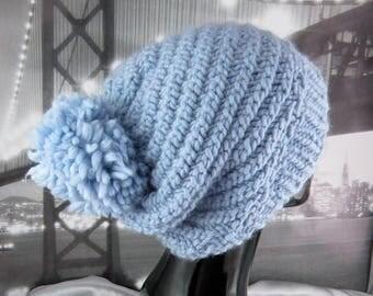 40% OFF SALE Superfast Swirl Bobble Slouch Hat CIRCULAR knitting pattern by madmonkeyknits