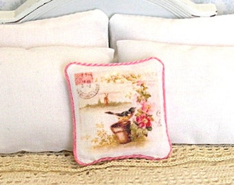 1:12 Pillow - Spring Robin Collage - Dollhouse Scale Miniature - Shabby Cottage Spring **Free Shipping**